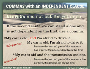 commas and independent clauses